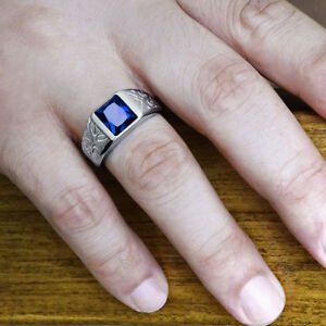 NEW Mens Ring with Blue SAPPHIRE in 925k SOLID Sterling Silver All Sizes