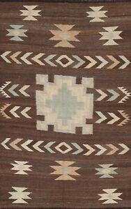 Natural Dye Geometric Reversible Kilim Afghan Oriental Area Rug Hand-Woven 5x7