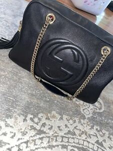 100% Authentic Gucci Large Gold Chain Soho Bag