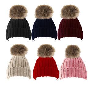 Ladies Womens Winter Rib Beanie Ski Hat Detachable Large Faux Fur Bobble Pom Pom