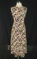 NEW BOBEAU Plus Size 1X A-Line Dress White Orange Purple Floral Sleeveless Long