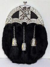 Brand New Sporran With Black Rabbit Fur Lion Celtic Design (Free Belt Included)