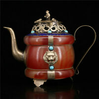 "5.71""Exquisite China Pure copper silvering Cloisonne inlay Jade wine pot Teapot"