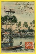 cpa Rare AMIENS Rivery 1908 SAUT de la MORT Plongeon à Vélo de 17m par VAISSADE