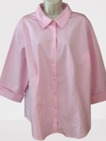 Jessica London Women's Blouse Plus 22/24 Pink 3/4 Sleeve Button Down Shirt
