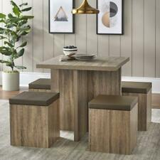 Dining Set Storage Ottoman Home Kitchen Furniture Table Chair Stool 5 Piece