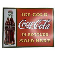 Coke Ice Cold Coca-Cola IN BOTTLES Sold Here VINTAGE Metal Tin Sign BOTTLE OF 23