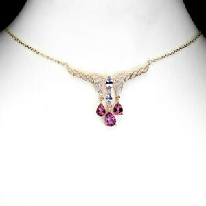 Pear Pink Topaz 8x6mm Tanzanite 14K Rose Gold Plate 925 Sterling Silver Necklace