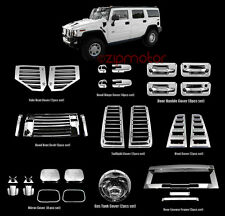 03-05 HUMMER H2 CHROME COVER TRIM 36PCS COMBO DOOR HANDLE MIRROR HOOD DECK VENT