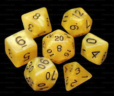 NEW 7 Piece Polyhedral Dice Set - Mystic Maize Yellow Marble - Cream Dice Bag