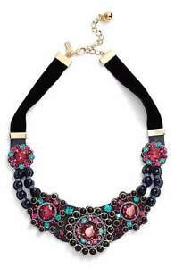 Kate Spade Women's Luminous Vintage Leather Crystal/Pearl Statement Necklace