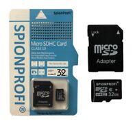 NEU SpionProfi® 32GB MICRO SD SDHC SPEICHERKARTE + ADAPTER CLASS 10 NEU Z51