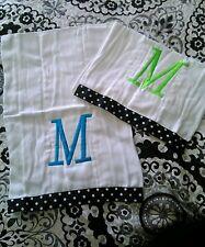"Frazzled and Dazzled Diaper Liner Polka Dot Monogram ""M"" Teal (2) NEW Burp Rag"