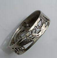 Vintage sterling silver 925 ring size S Open Cut Work