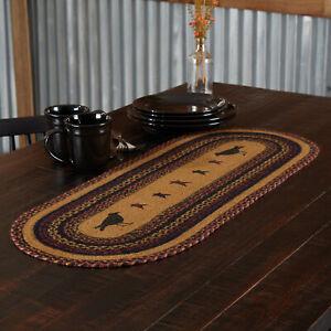 "Heritage Farms Crow Braided Jute Table Runner 13x36"" mustard tan black burgundy"