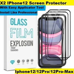 X2 Tempered Glass for iPhone 12 screen protector with easy applicator tool