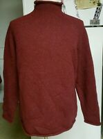 J. CREW Mens Thick 100% Wool Rolled Mock Turtleneck Sweater Sz Medium Maroon