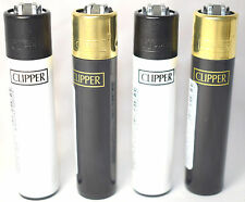 4 x Clipper BLACK & WHITE Lighters Set Refillable Flint GOLD AND BLACK TOPS NEW