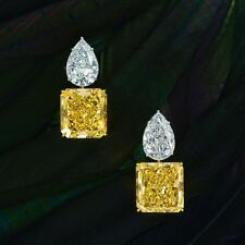 3Ct Princess Pear Cut Simulnt Yellow Diamond Stud Earrings White Gold Fns Silver