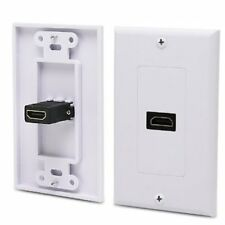 Single HDMI adapter coupler female decora snap on Wall Plate white 1.4 1080p