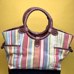 Vintage Fossil Multi Color Striped Canvas Basket Handbag Woven Leather Handles