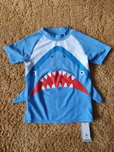 BNWT Boys TU Size Age 10 Years Blue Shark Rash Vest Swim Top