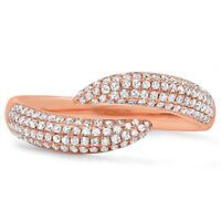 Womens 0.43 CT 14K Rose Gold Pave Diamond Open Claw Wrap Statement Ring Fashion