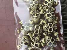 10 pack of Yellow Skull & Crossbones design Acrylic Beads #4