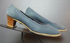 Women's Vintage Ferragamo Aqua Blue Nubuck Classic Pumps Sz. 9.5B