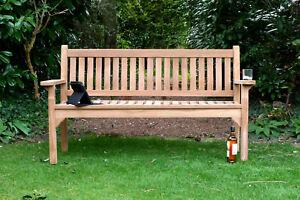 3 Seater Teak Wooden Garden Bench Outdoor Patio Seat Chair Flat Arm Solid Wood