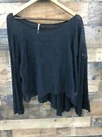 Free People Women's Black Semi Sheer Long Sleeve Cropped Shirt Size M