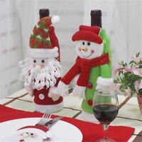 Funny Christmas Red Wine Bottle Cover Snowman Santa Claus Xmas Party Table Decor