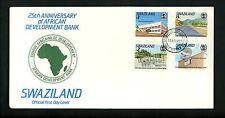 Postal History Swaziland FDC #551-554 Finance bank microwave radio hospital 1989