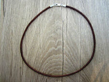 """Mens Leather Cord Necklace - Sterling Silver Clasp/Catch - 18"""" inch - 3mm Brown"""