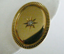 VTG 14K Gold & Diamond Star burst oval Tie Tack pin lapel