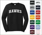 Hawks College Letter Team Name Long Sleeve Jersey T-shirt