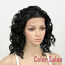 HAND TIED Synthetic Hair LACE FRONT FULL WIGS GLUELESS Off Black 95#1B