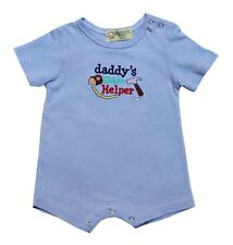 "Lt Blue ""Daddy's Little Helper"" Short Sleeves Romper Infant/Baby Boy Clothes 18M"