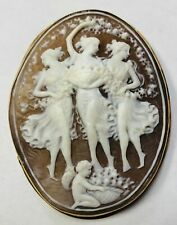 Fabulous 14 K Yellow Gold Cameo Pin / Pendant