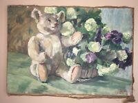 Antique German Expressionist Still-Life Oil Painting Flowers Otto Ebeling Signed