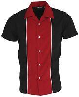 Men's Tenpin Bowling Shirt Open Neck Black & Red Vintage 1950's Rockabilly