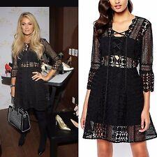 NEW Self Portrait A Line Guipure Lace Up Mini Dress Black UK Size 10 US 6 EU 38