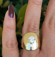 14k real Yellow Gold Solitaire round man made Diamond cigar band Ring S7.5