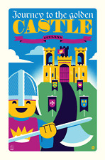 "Original LEGO Art Yellow Castle 375 11""x17"" Poster Dave Perillo"