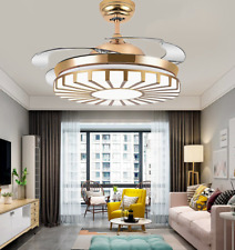 """New Listing42"""" Modern Gold Invisible Ceiling Fans Pendant Led Chandelier with Light Remote"""