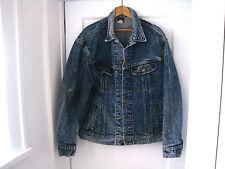 Retro Men's LEE RIDERS Union Label Blue Stone Acid Wash Jean Jacket Size L-USA