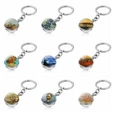 Sided Pendant Key Chain Time Gem Keyring Galaxy Ball Van Gogh Oil Painting