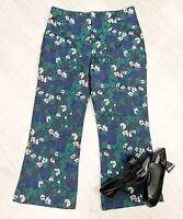 Whistles Smart Trousers Floral Print Fashion Occasion Black Mix sz 14
