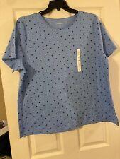 NWT Women's Croft & Barrow Kohl's Short Sleeve Crew Top T-Shirt Blue Dot Size 2X