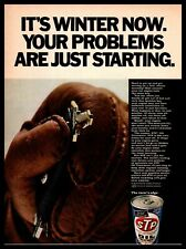 1967 STP Oil Treatment Car Keys Winter Gloves Starting Problem Vintage Print Ad